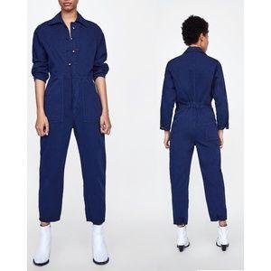 NWT Zara Size L Navy Blue Jumpsuit